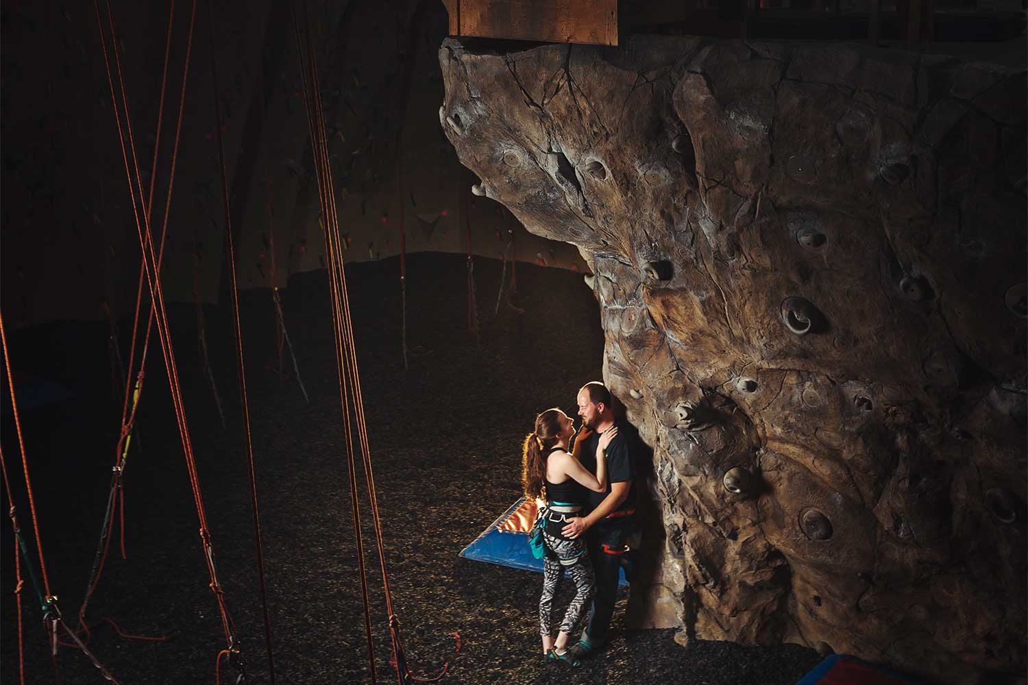 Engagement photo shoot at Reading Rocks climbing gym in Reading PA