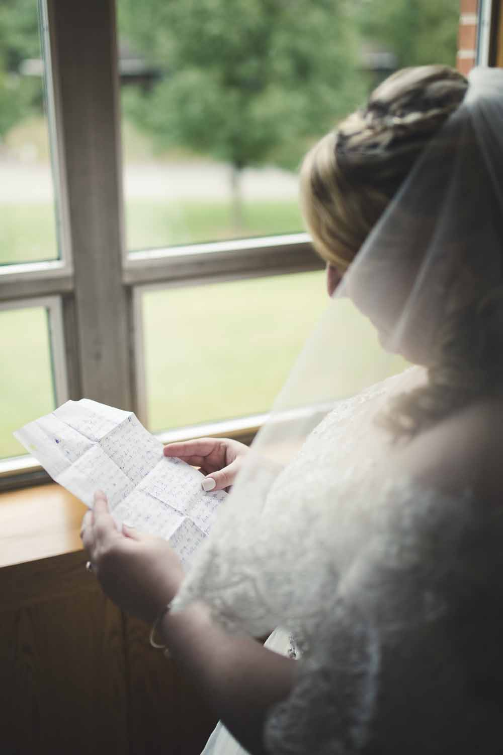 Reading a letter from the groom