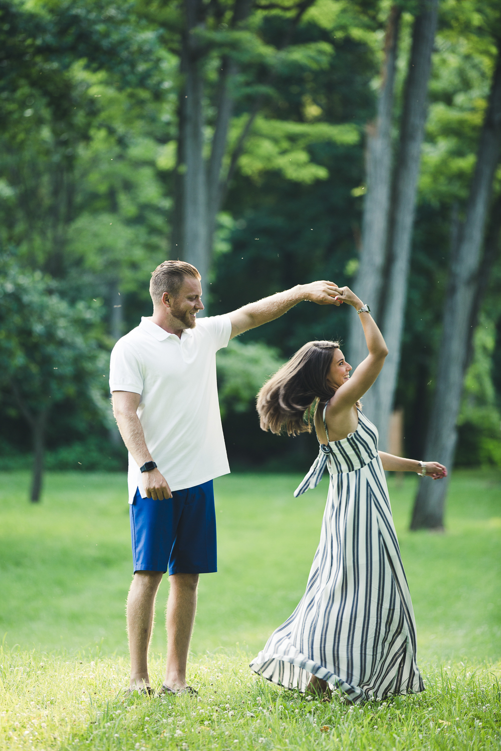 Couple dancing at engagement session