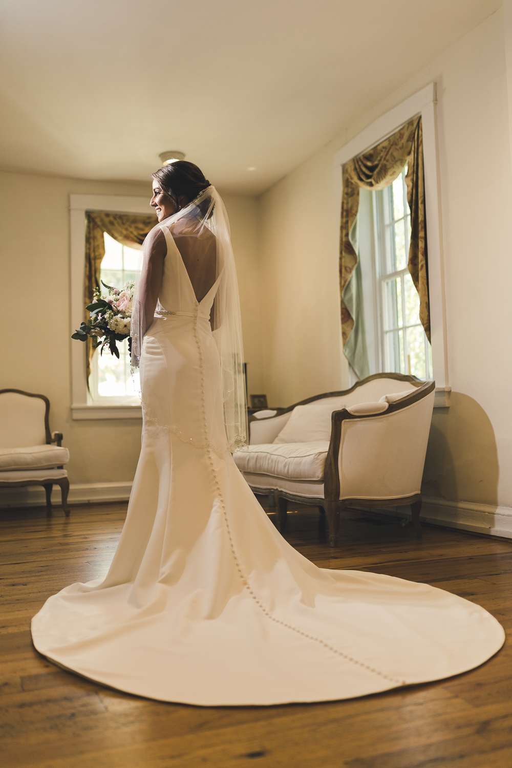 Indoor bridal portrait at Riverdale Manor