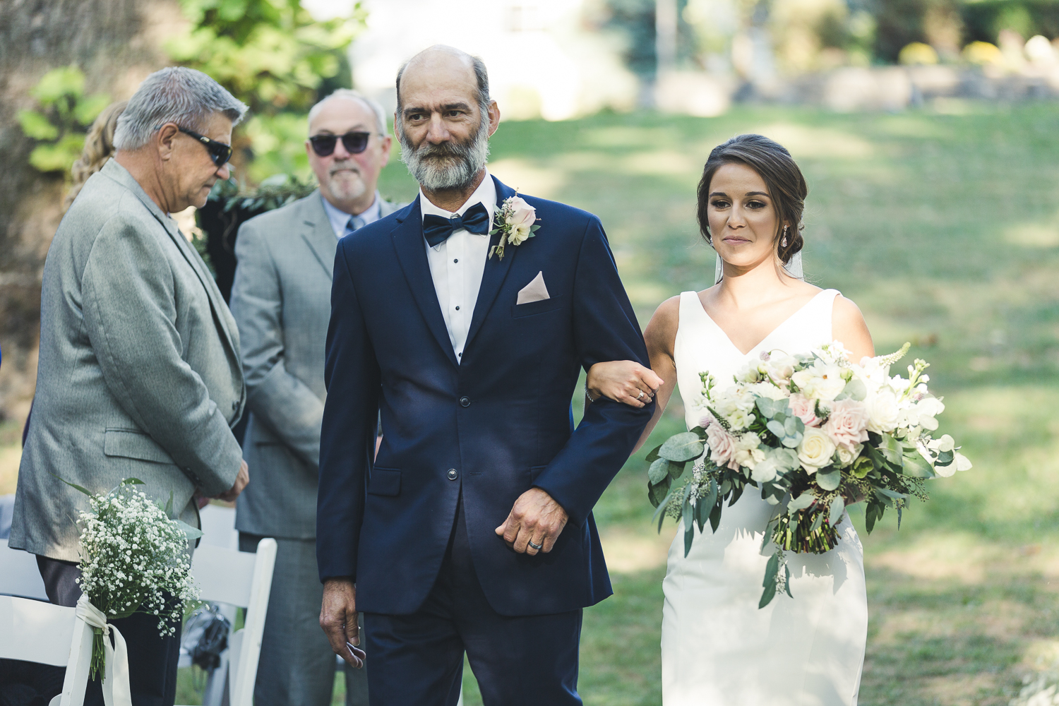 Bride and father walking down the aisle - Riverdale Manor