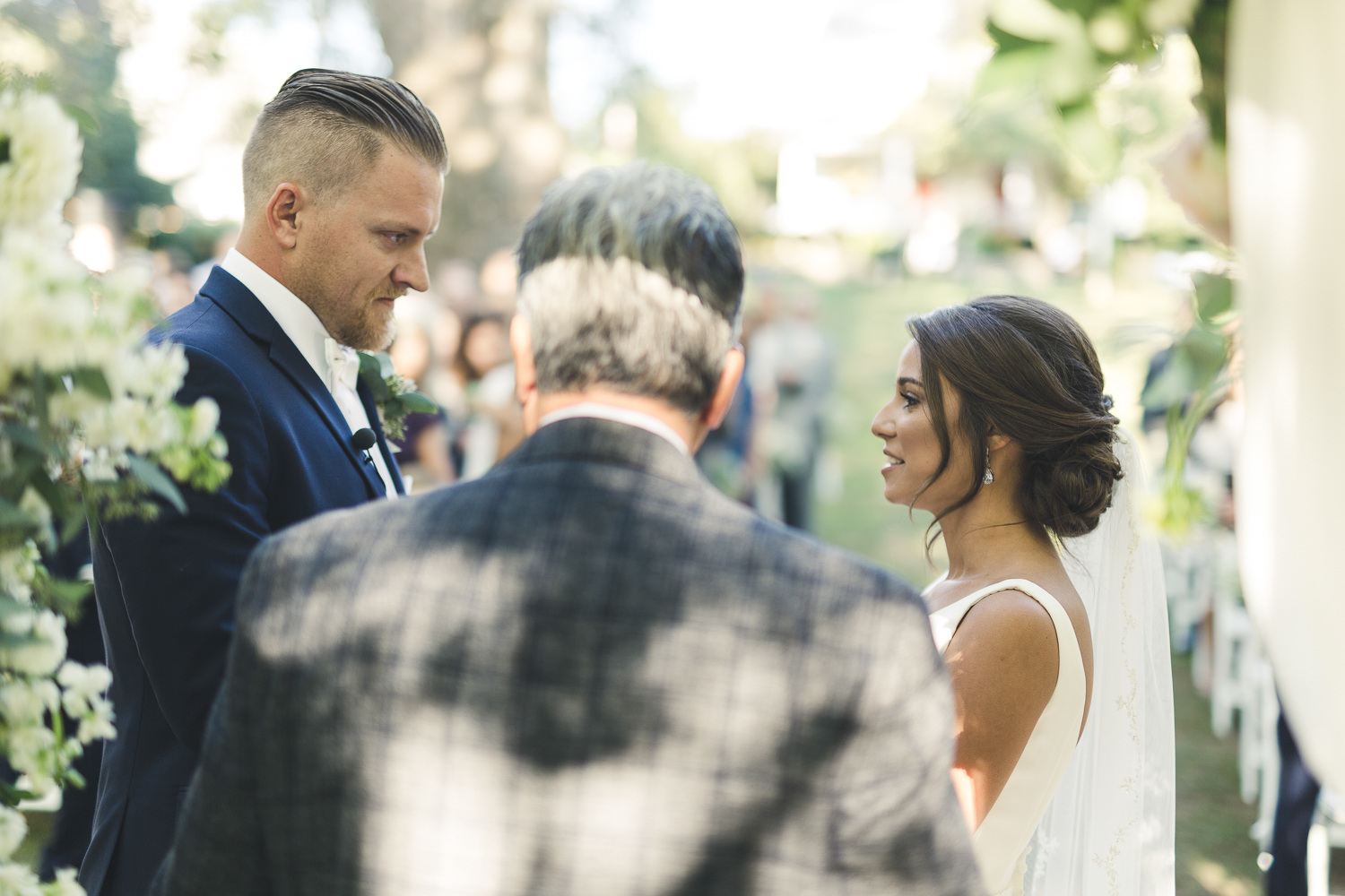 Bride and Groom at alter - Riverdale Manor