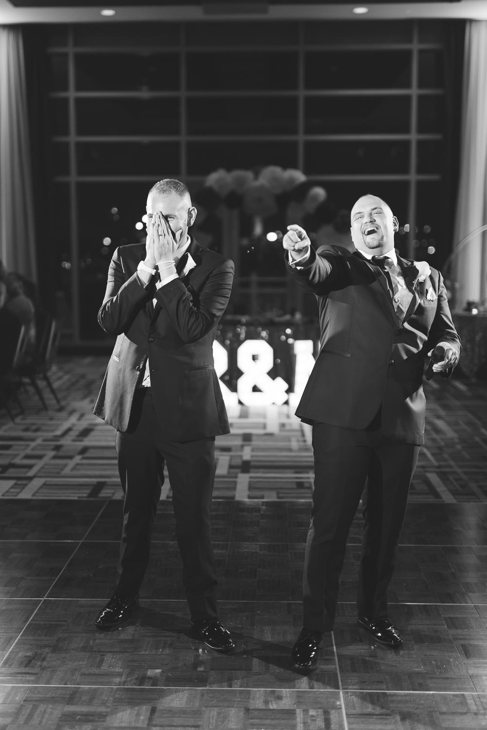 Grooms giving a toast