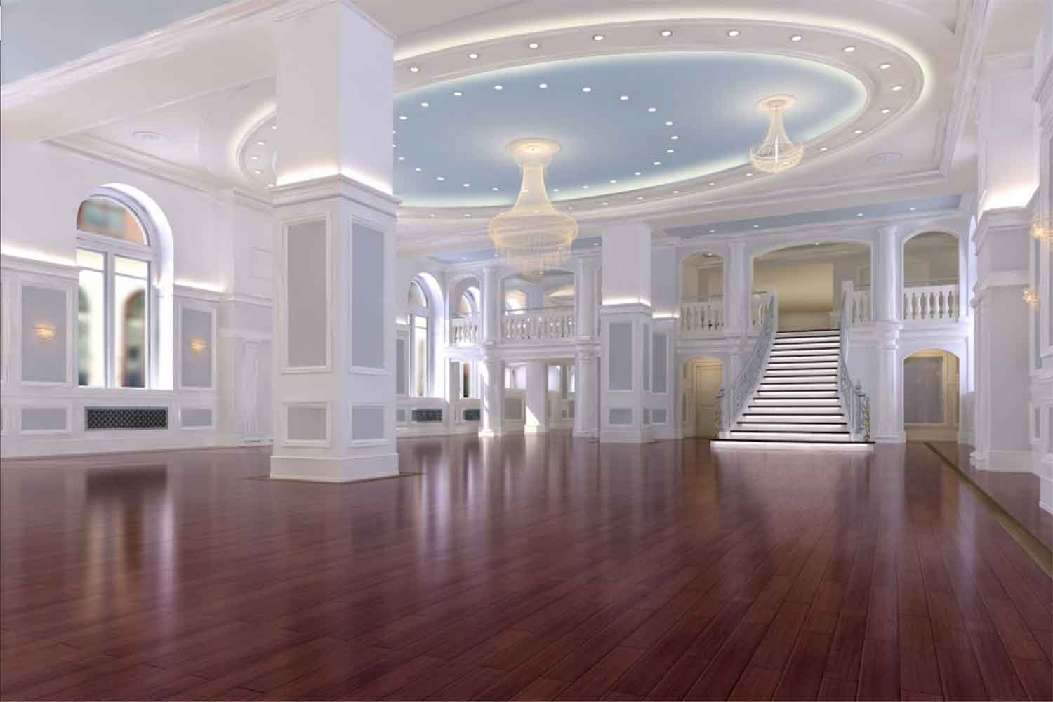 Wide shot of Arts Ballroom main banquet hall. Located in Philadelphia.
