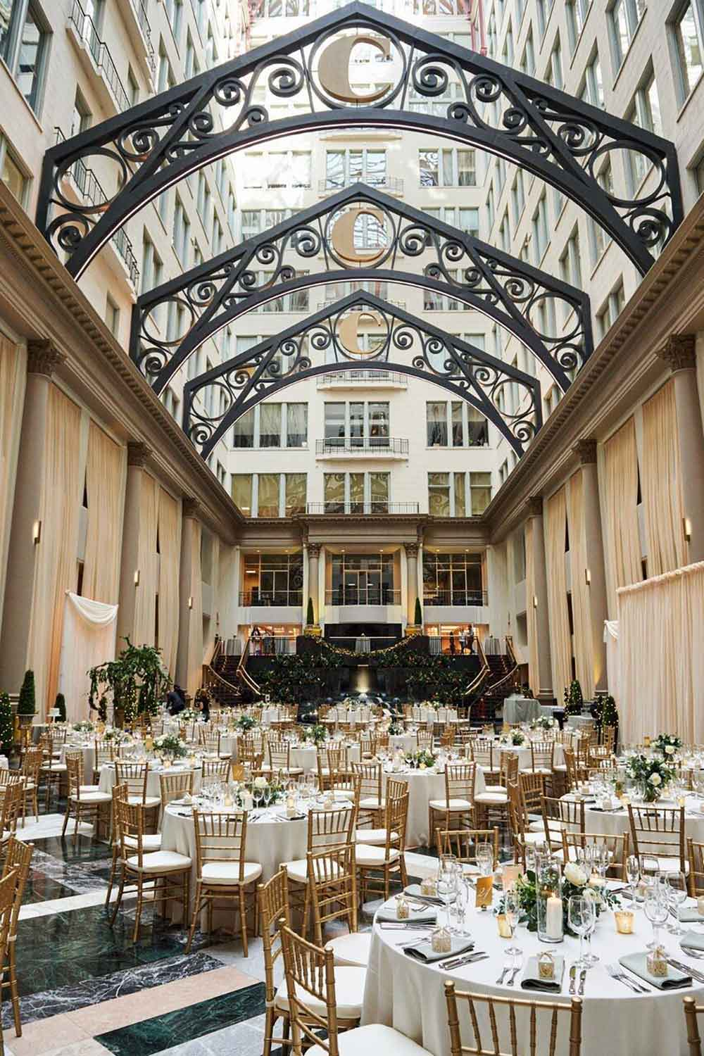 Curtis Atrium ballroom decorated for a wedding, located in Philadelphia