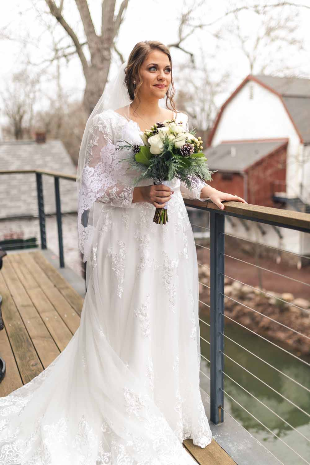 Outdoor bridal portrait at Carriage House