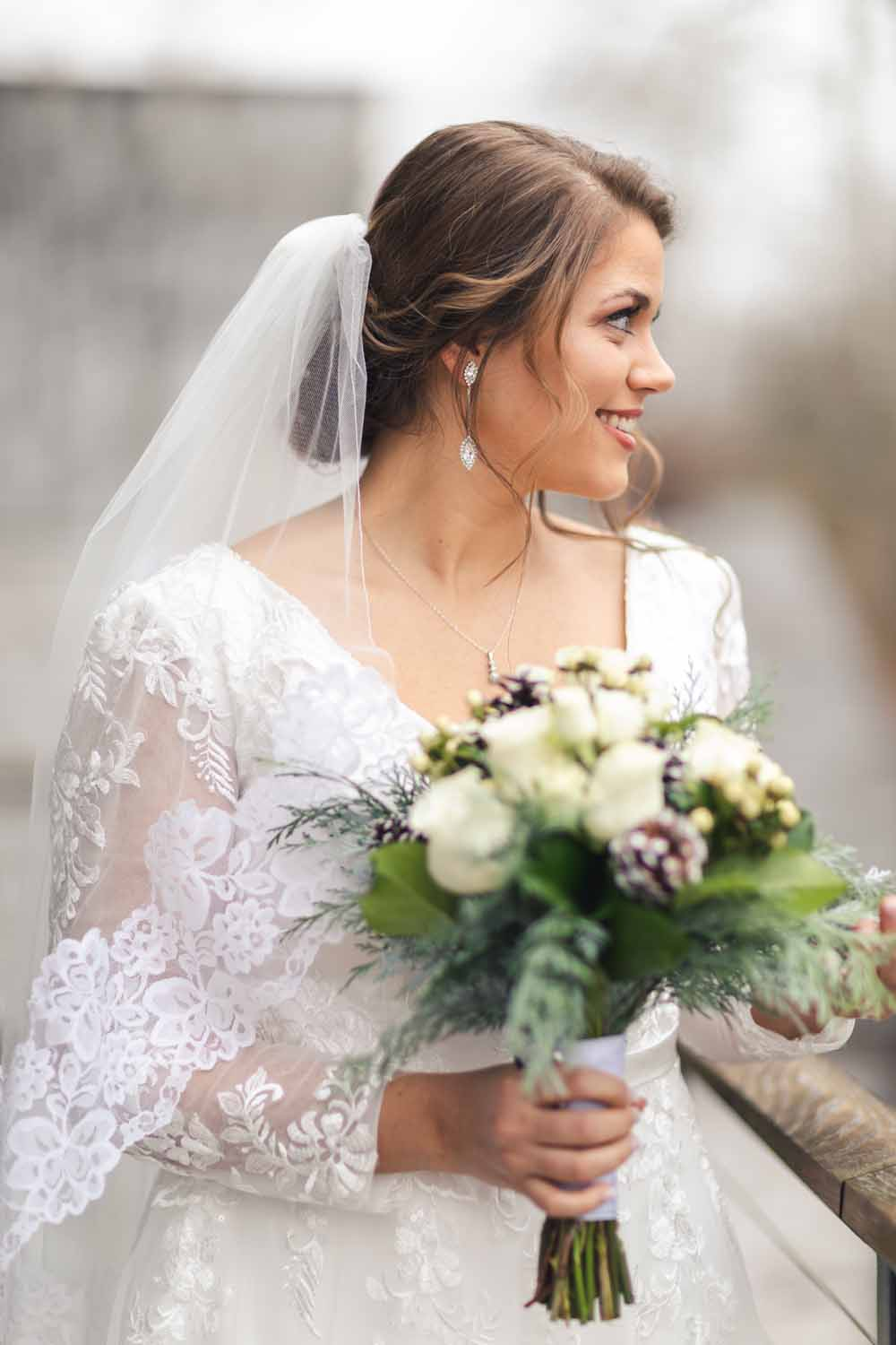 Bridal portrait on porch of Carriage House