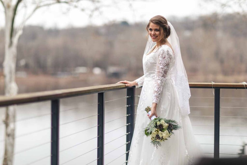 Bridal Portrait with Delaware River in background
