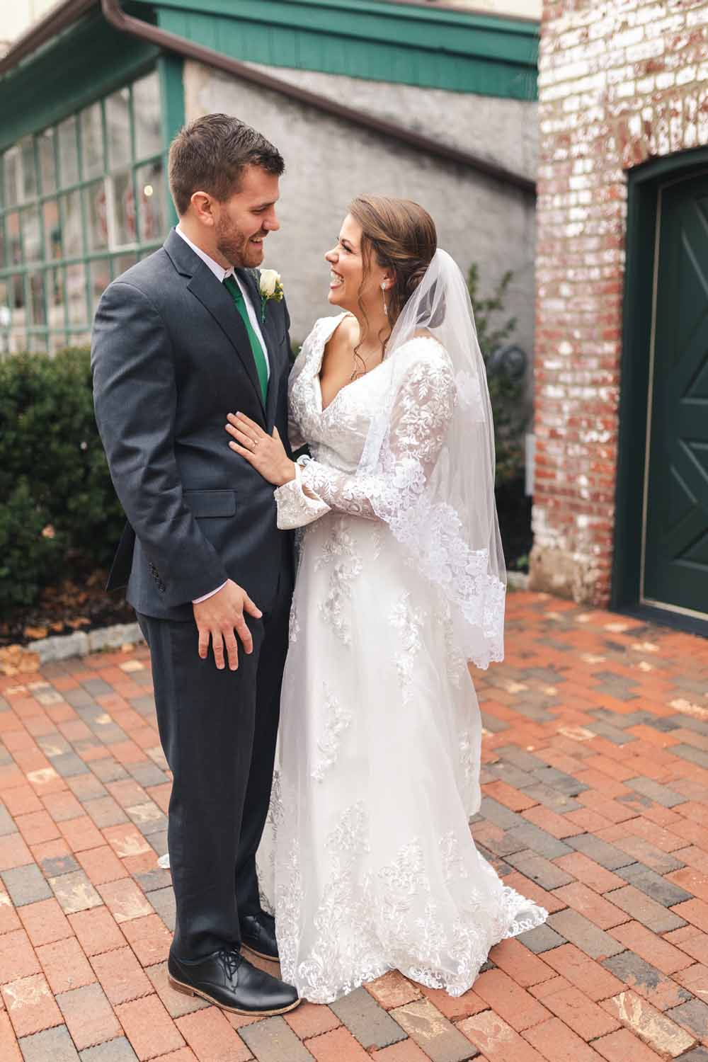 Bride and groom first look at Carriage House in New Hope