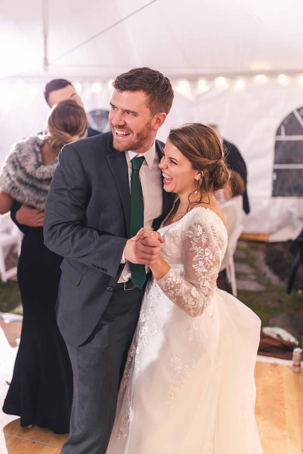 Newly weds dancing during reception