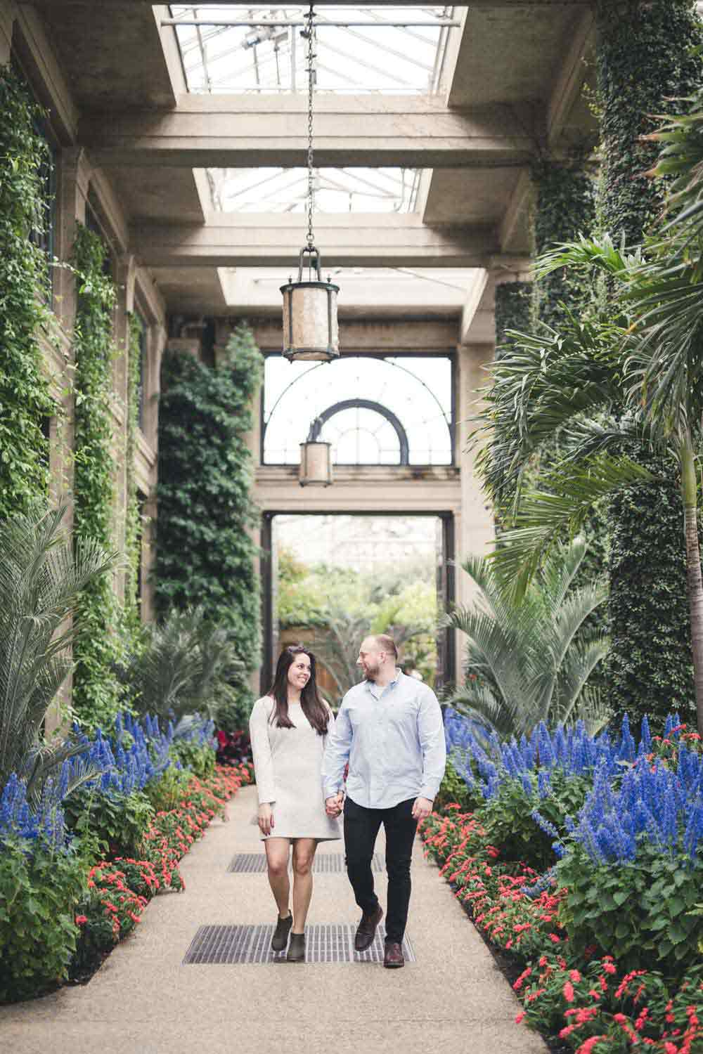 Longwood Gardens Engagement Photos with couple walking down path surrounded by flora
