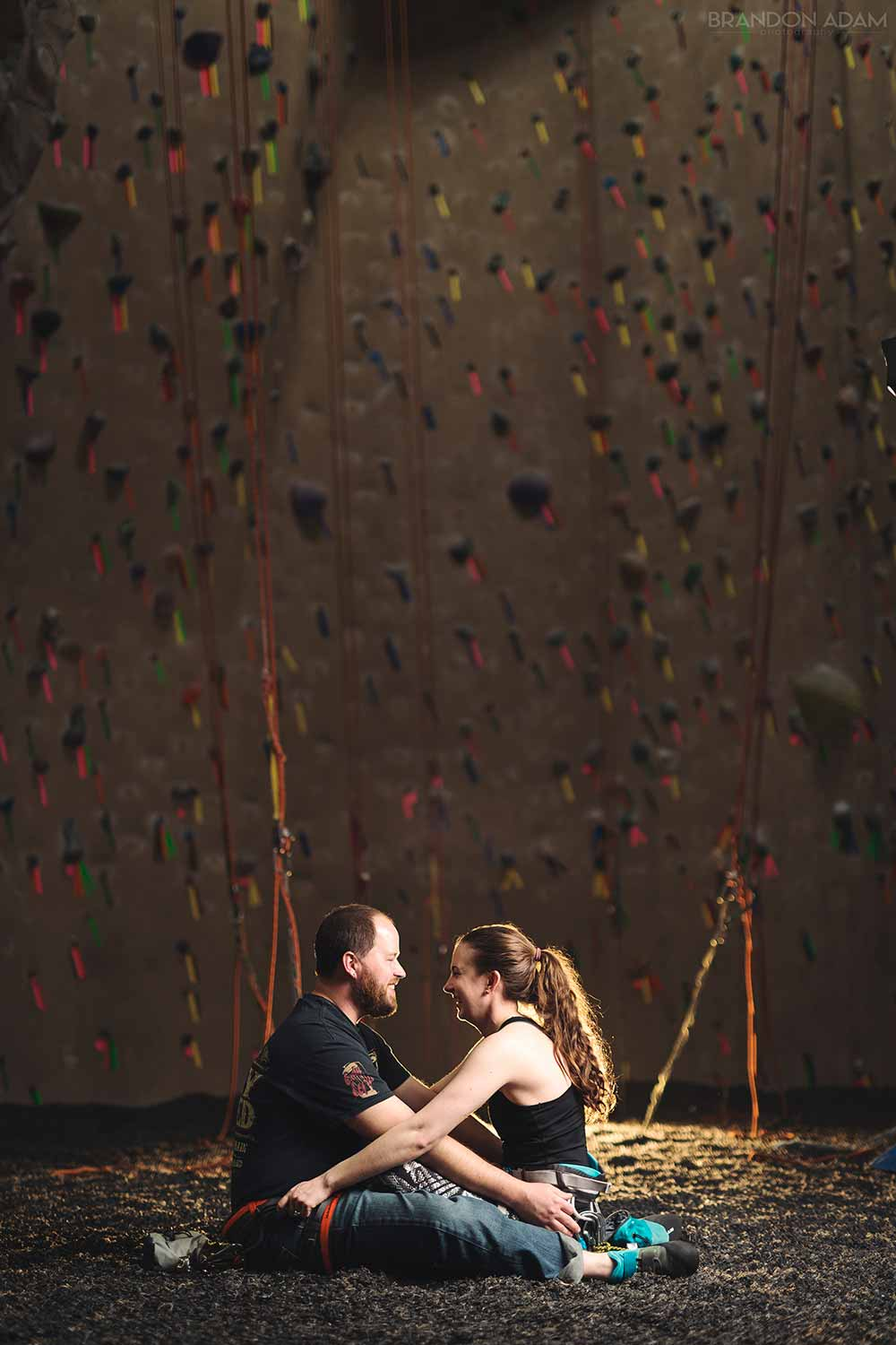 Photo of couple in climbing gear at climbing gym in Reading, PA